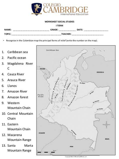 worksheet 5 landforms in colombia