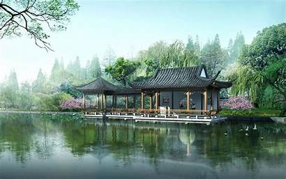 Japanese Fantasy Lake Chinese Near Nature Wallpapers