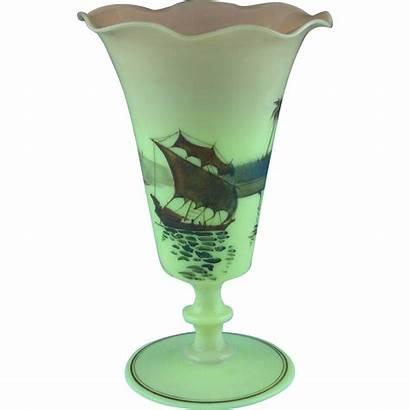 Washington Mt Burmese Glass Vase Rare Scene