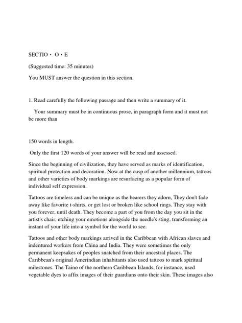 English Language 'a' CXC Past Paper 2007 | Tattoo