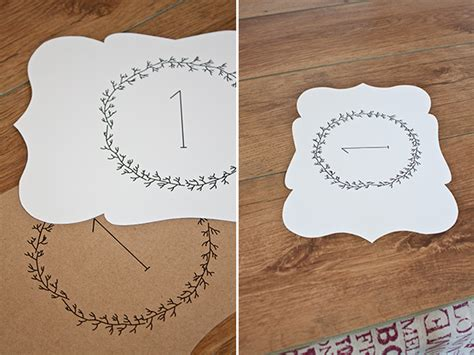 printable wedding escort cards  table numbers