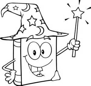 dibujo de libro magico  varita magica  colorear