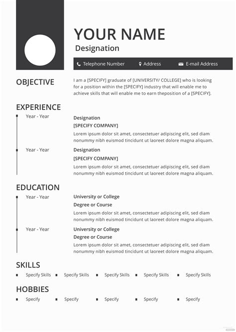 blank resume  cv template  adobe photoshop