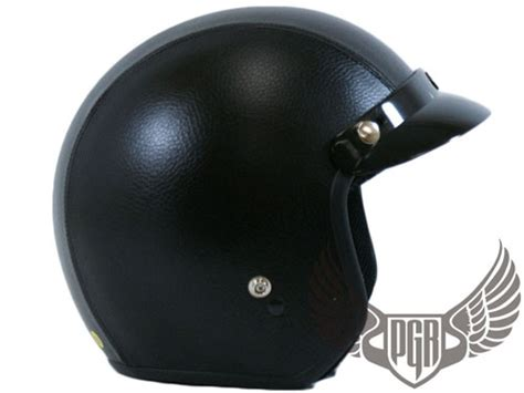 Black Leather Motorcycle Scooter 3/4 Open Face Vintage