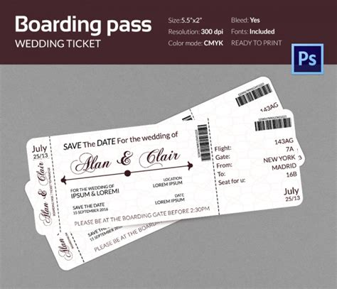 boarding pass template boarding pass invitation template 36 free psd format free premium templates