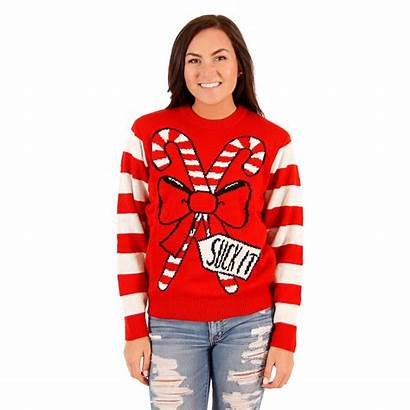 Ugly Sweater Funny Candy Cane Suck Womens