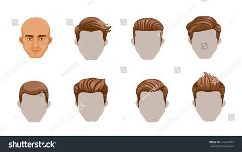 set men cartoon hairstyles collection fashionable stock vector  shutterstock
