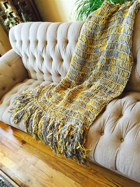 yellow gray wedding gift  couples throw blanket afghan