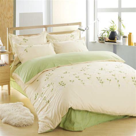 100 Cotton Leaf Bedding Set Green Bed Sheets Embroidered