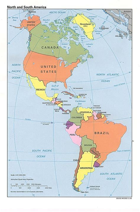 map of north and south america political map