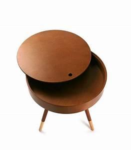 Table Basse D Appoint : table basse design ronde d 39 appoint en bois d 39 h v a finition noyer ~ Teatrodelosmanantiales.com Idées de Décoration