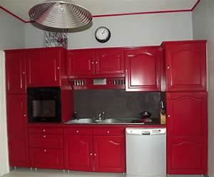 Peindre Meuble Cuisine : peinture meuble cuisine rouge design de cuisine ~ Melissatoandfro.com Idées de Décoration