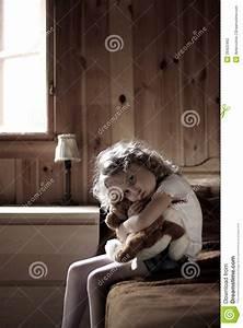 Sad Little Girl Hugging Teddy Bear Stock Photography ...