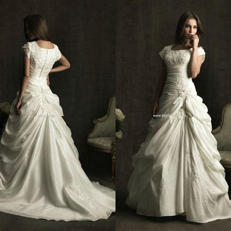 Square Neckline Chapel Train Pleat Plus Size Wedding Gowns