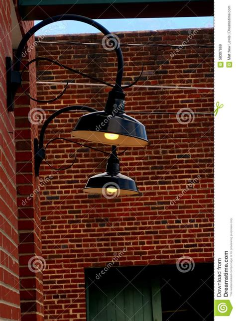 brick wall lighting stock 58307669