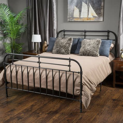 bedroom furniture iron metal king size bed  charcoal ebay
