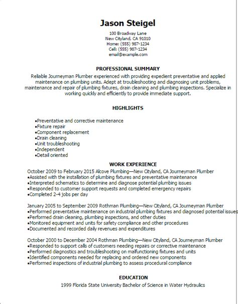 Plumber Resume Exles by Pin By Tamara Sparrow On Resume Tips Engineering Resume