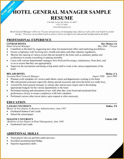Free General Resume Template by 7 Free Hospitality Resume Template Free Sles