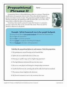 4th Grade Prepositional Phrase Worksheet
