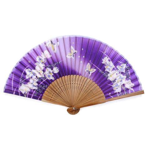 japanese silk hand fans silk hand fan purple 8 quot folding pocket purse asian