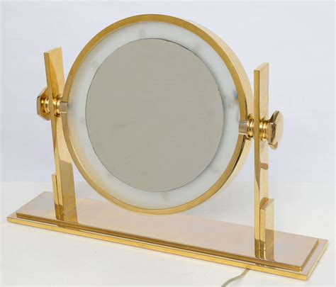 Table Top Vanity Mirror With Lights by Karl Springer Lighted Table Top Vanity Mirror At 1stdibs