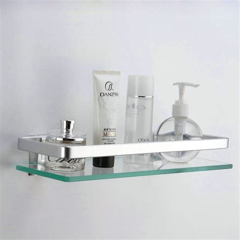bathroom wall mounted silver aluminum tempered glass