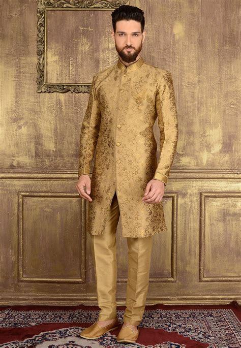 woven art silk jacquard sherwani  beige mgv