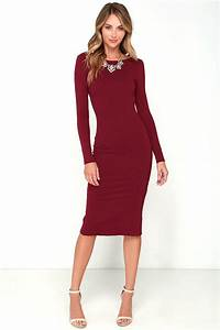 sexy wine red midi dress backless dress bodycon dress With robe moulante manche longue