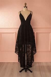 robe longue asymetrique noire black high low lace gown With robe asymétrique noire