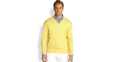 Polo Ralph Lauren Cotton V-neck Sweater In Yellow For Men