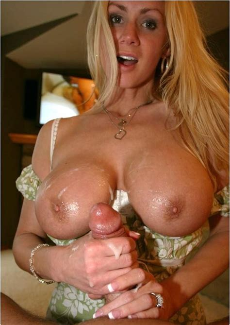 Naughty Allie Bringing Lucky Dude Off With Tit And