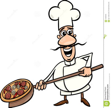cook with pizza illustration stock vector