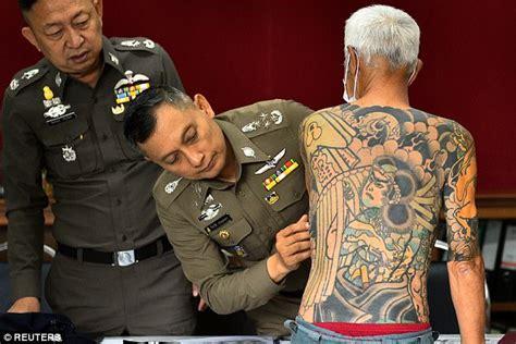 yakuza boss arrested  photo  tattoos  viral