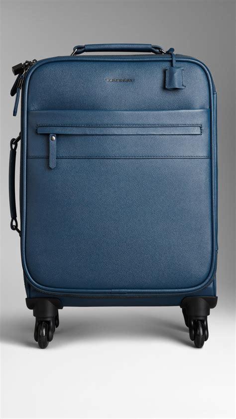 burberry london leather fourwheel suitcase  teal blue blue  men lyst