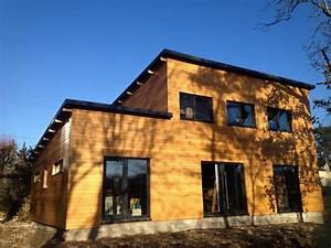 Maison bois toiture monopente vegetalisee Troyes BECOKIT Maisons ossature bois