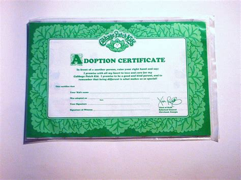cabbage patch kids adoption certificate adoption papers