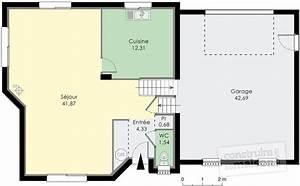 maison traditionnelle normande detail du plan de maison With plan maison demi niveau 0 maison en demi niveaux detail du plan de maison en demi