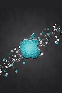 Glitter Blue Apple Logo Wallpaper - Free iPhone Wallpapers