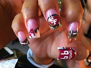 Cute Football Nail Designs 49er Fan 49er Nails Football Nails Sports Nails San