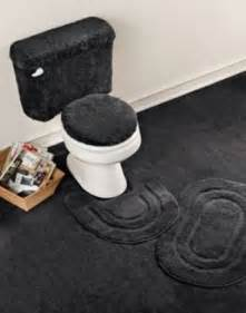 5 piece basic bath rug set black