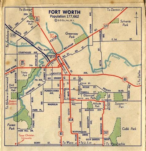 fort worth street map c1940 whar ah 39 m from fort worth