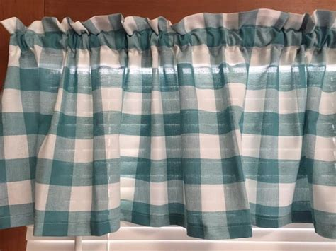 teal  white country kitchen valance cafe curtains