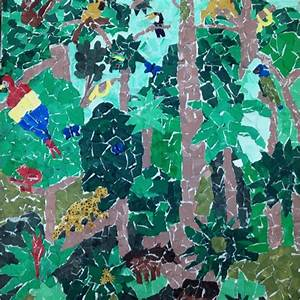 Rainforest Collage created on canvas made with tempura ...