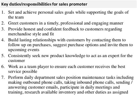 sales promoter description for resume salesman description resume
