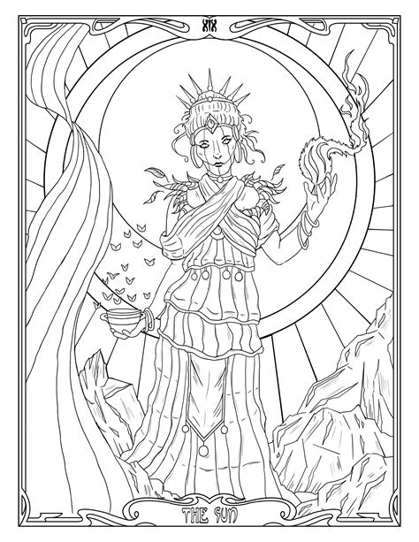 Tarot Coloring Page The Sun, White Witch Printable