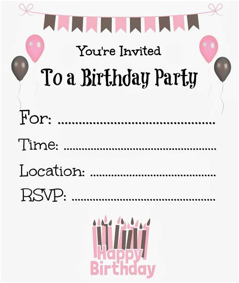 printable birthday invitations  kids birthday