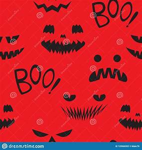 Seamless, Pattern, Teeth, Smiling, Pumpkin, Stock, Vector