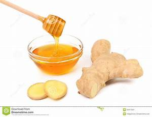 Honey In Bowl And A Slices Ginger Root Stock Image Image