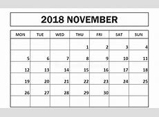 Printable November 2018 Calendar Monday Start – Printable