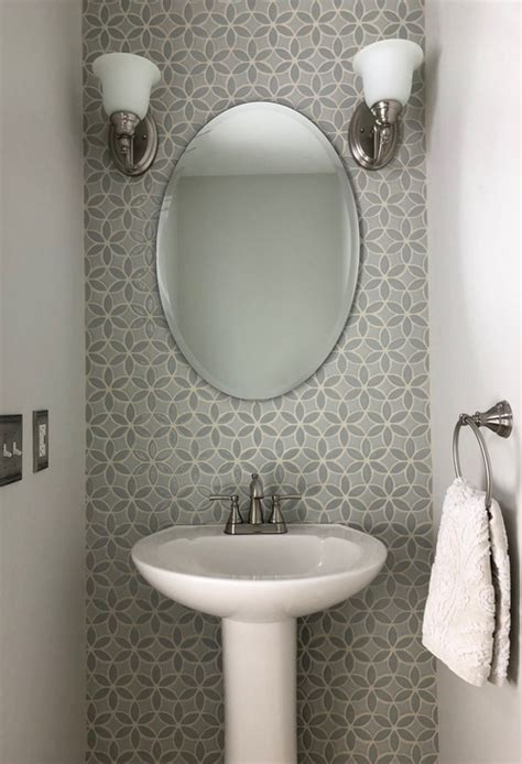charming powder room  bloom handmade tile accent wall